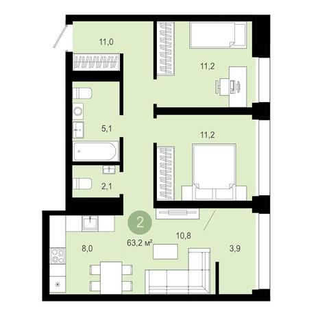 Вариант №4038, 3-комнатная квартира в жилом комплексе