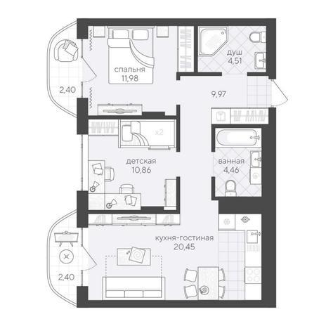 Вариант №6194, 3-комнатная квартира в жилом комплексе