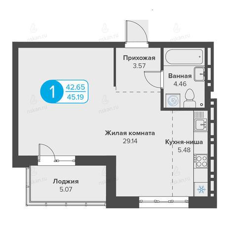 Вариант №2812, 1-комнатная квартира в жилом комплексе Огни Сибири