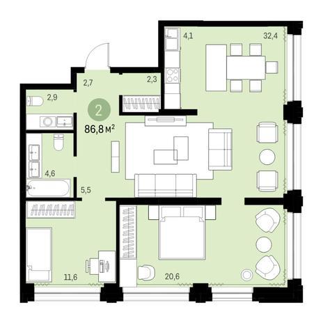 Вариант №6142, 3-комнатная квартира в жилом комплексе