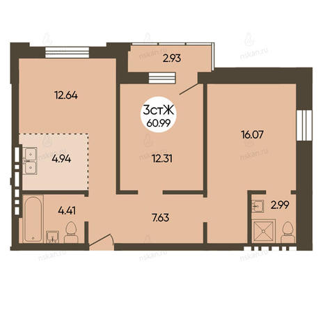Вариант №2498, 3-комнатная квартира в жилом комплексе