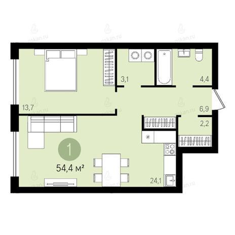 Вариант №2617, 2-комнатная квартира в жилом комплексе Квартал на Никитина