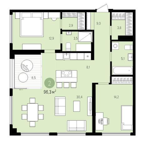 Вариант №5510, 3-комнатная квартира в жилом комплексе