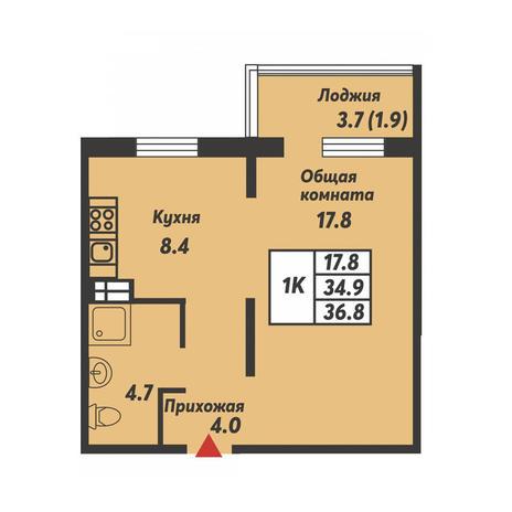 Вариант №3687, 1-комнатная квартира в жилом комплексе Заельцовский