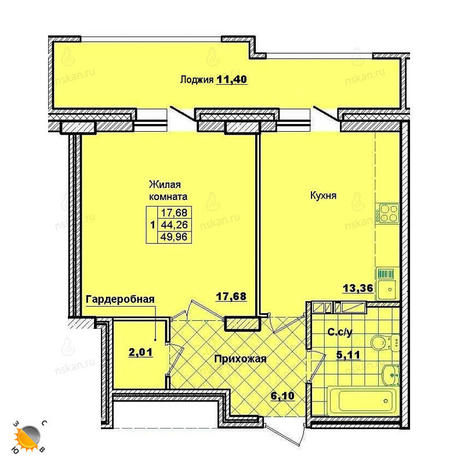Вариант №2015, 1-комнатная квартира в жилом комплексе Революция