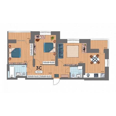Вариант №6580, 3-комнатная квартира в жилом комплексе