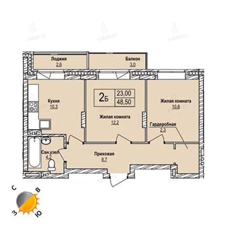 Вариант №1242, 2-комнатная квартира в жилом комплексе Северная корона