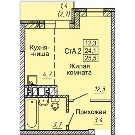 Вариант №4968, 1-комнатная квартира в жилом комплексе