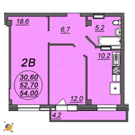 Вариант №2359, 2-комнатная квартира в жилом комплексе Аэропорт