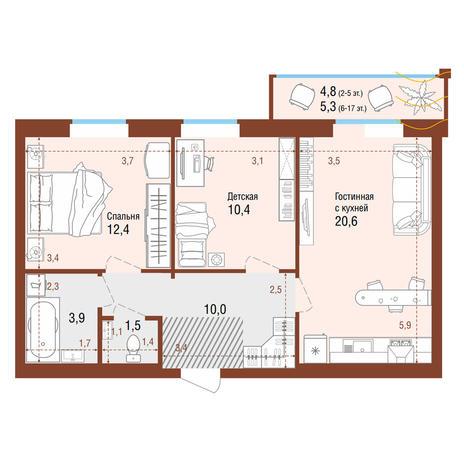 Вариант №4210, 3-комнатная квартира в жилом комплексе Чистая Слобода