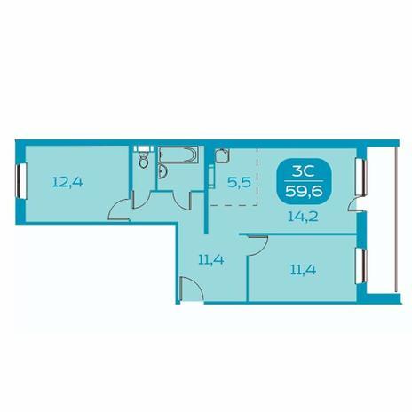 Вариант №4385, 3-комнатная квартира в жилом комплексе Аквамарин