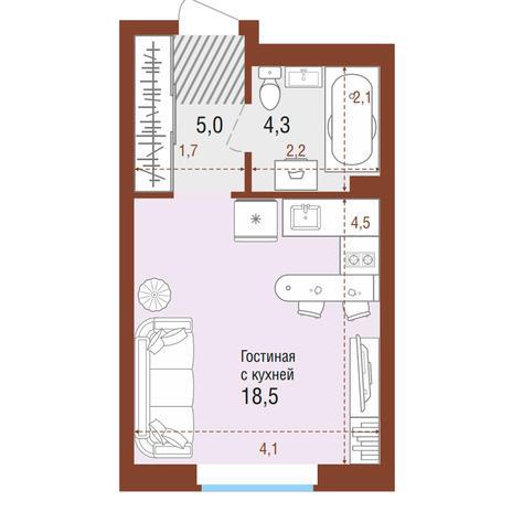 Вариант №4196, 1-комнатная квартира в жилом комплексе Одесса
