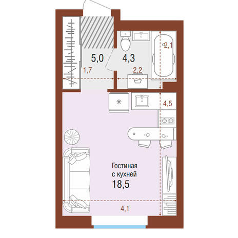 Вариант №4196, 1-комнатная квартира в жилом комплексе
