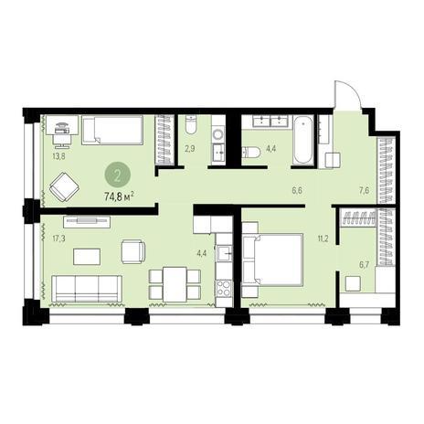 Вариант №5439, 3-комнатная квартира в жилом комплексе