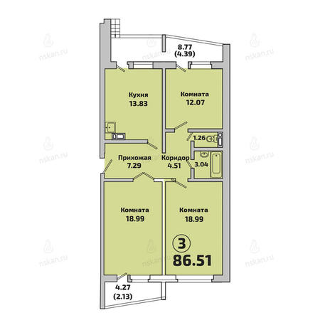 Вариант №2852, 3-комнатная квартира в жилом комплексе Родники