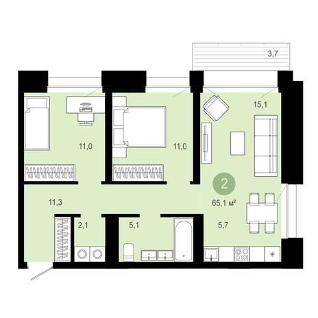 Вариант №4029, 3-комнатная квартира в жилом комплексе