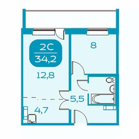 Вариант №4383, 2-комнатная квартира в жилом комплексе Ключевой
