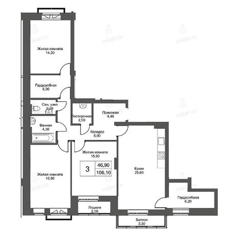 Вариант №2750, 4-комнатная квартира в жилом комплексе Эволюция