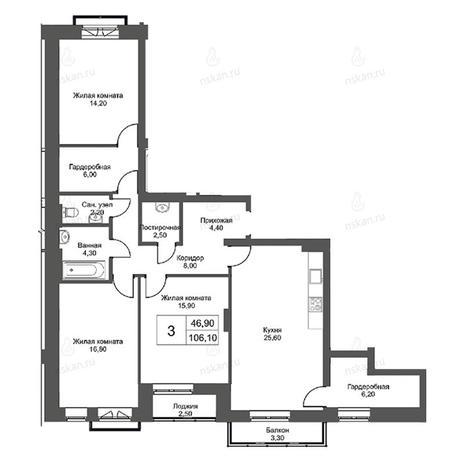 Вариант №2750, 4-комнатная квартира в жилом комплексе