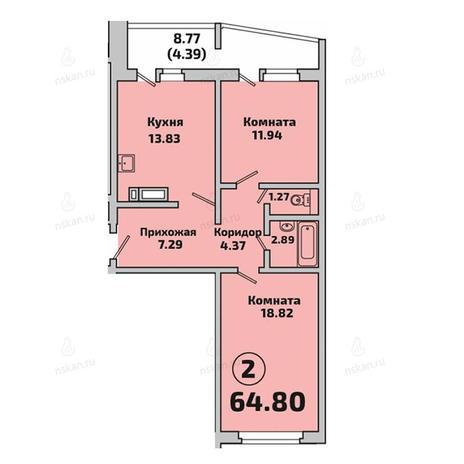 Вариант №2841, 2-комнатная квартира в жилом комплексе