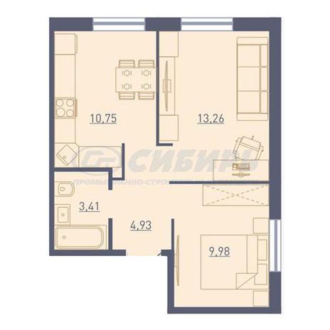 Вариант №3726, 2-комнатная квартира в жилом комплексе Радуга Сибири