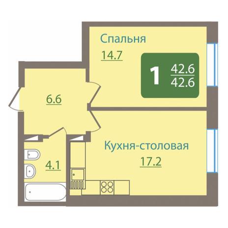Вариант №3489, 1-комнатная квартира в жилом комплексе Крымский