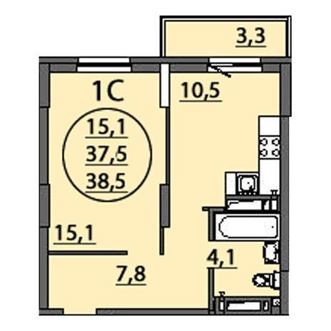 Вариант №2511, 1-комнатная квартира в жилом комплексе