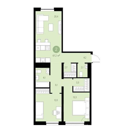 Вариант №4720, 3-комнатная квартира в жилом комплексе