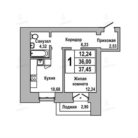 Вариант №1038, 1-комнатная квартира в жилом комплексе ГринАрт