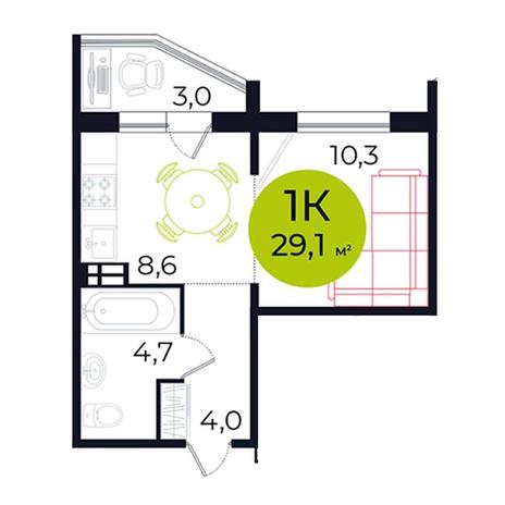 Вариант №5486, 1-комнатная квартира в жилом комплексе