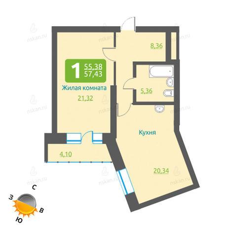 Вариант №1202, 1-комнатная квартира в жилом комплексе Марсель