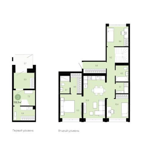 Вариант №6005, 4-комнатная квартира в жилом комплексе