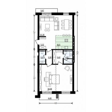 Вариант №4915, 2-комнатная квартира в жилом комплексе