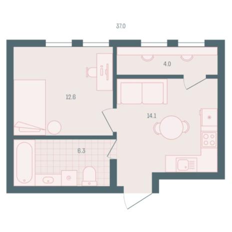 Вариант №5941, 1-комнатная квартира в жилом комплексе