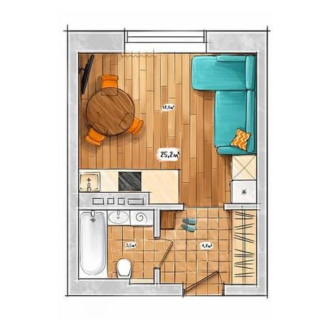 Вариант №3956, 1-комнатная квартира в жилом комплексе БонАпарт