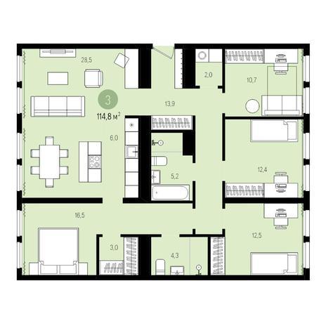 Вариант №5001, 5-комнатная квартира в жилом комплексе Пшеница