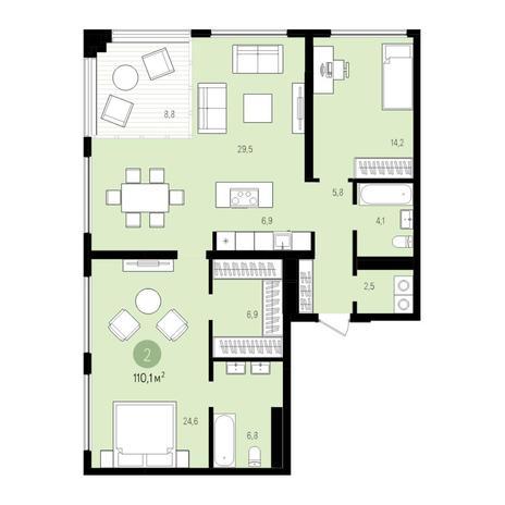 Вариант №5528, 3-комнатная квартира в жилом комплексе