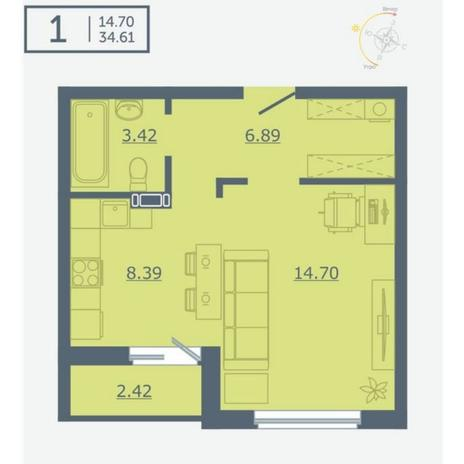 Вариант №4756, 1-комнатная квартира в жилом комплексе