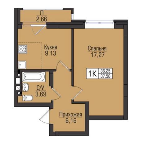 Вариант №5081, 1-комнатная квартира в жилом комплексе Цивилизация