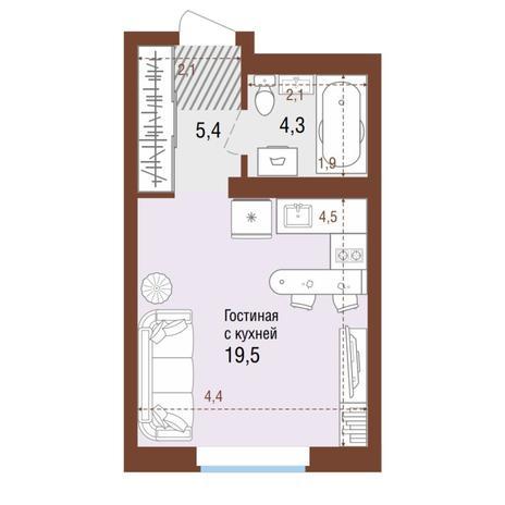 Вариант №4212, 1-комнатная квартира в жилом комплексе Акварельный 3.0
