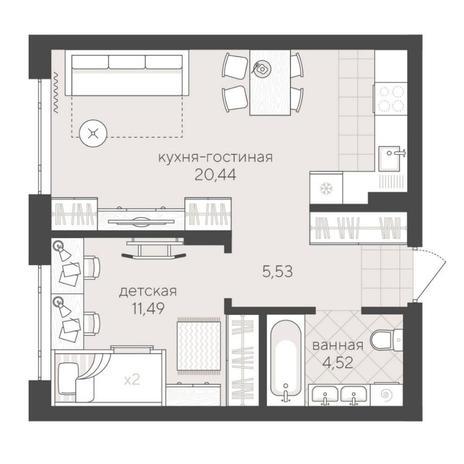Вариант №6232, 2-комнатная квартира в жилом комплексе