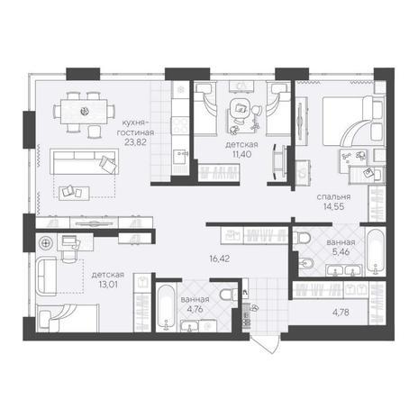 Вариант №6224, 4-комнатная квартира в жилом комплексе
