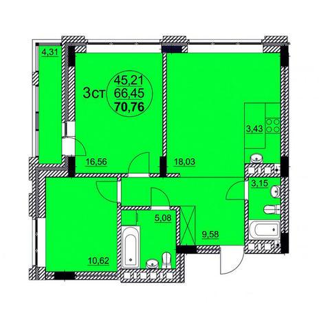 Вариант №3765, 3-комнатная квартира в жилом комплексе Пшеница