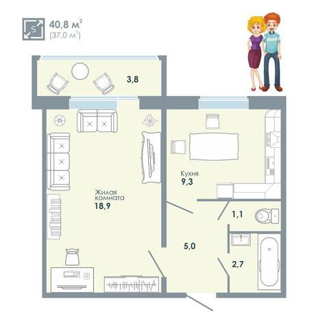Вариант №5137, 1-комнатная квартира в жилом комплексе