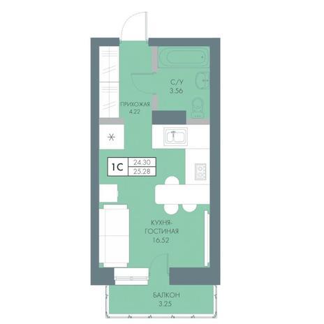 Вариант №4233, 1-комнатная квартира в жилом комплексе Венеция