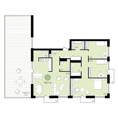 Вариант №3378, 3-комнатная квартира в жилом комплексе