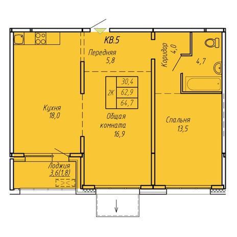 Вариант №6072, 2-комнатная квартира в жилом комплексе