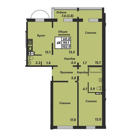 Вариант №3677, 4-комнатная квартира в жилом комплексе