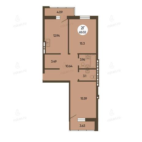 Вариант №2492, 2-комнатная квартира в жилом комплексе