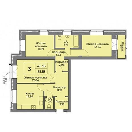 Вариант №3533, 3-комнатная квартира в жилом комплексе